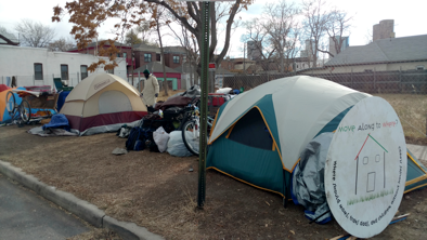 Survival camp of 20 people at 27th and Arapohoe - This camp has been kept extra clean and quite but was displaced nonetheless